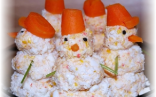 Новогодняя закуска Снеговички