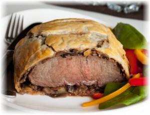 Мясо с грибами в тесте